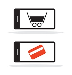 Cell Phone Icon with Shopping Cart and Credit Card vector image