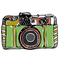 Vintage film camera black outline on a white vector
