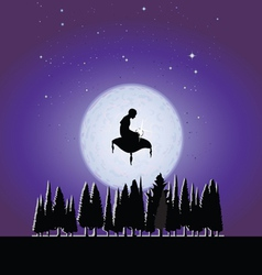 Fakir in the moonlight vector image