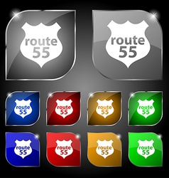Route 55 highway icon sign set of ten colorful vector