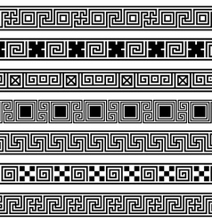 Different meander ansient patterns wide frame vector
