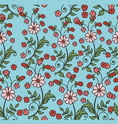 pattern with flowers on a blue background vector image