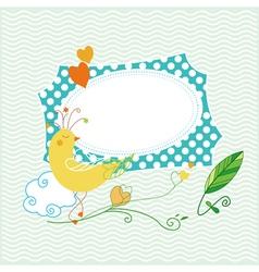 Cute bird greeting card vector