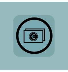 Pale blue euro bill sign vector