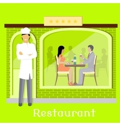 Urban restaurant facade with customers vector