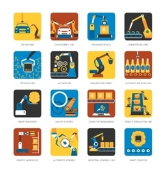 Industrial assembly line flat icons set vector