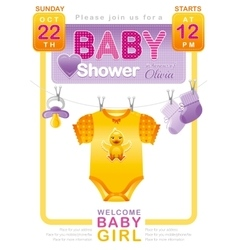 Baby shower girl invitation design with body suit vector