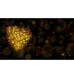 Abstract background with big gold heart vector image