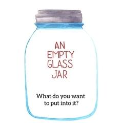 An empty glass jar vector