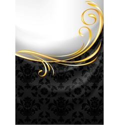Black fabric curtain gold vignette vector image
