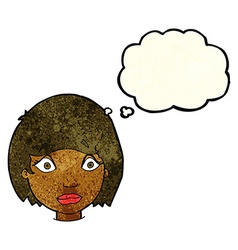 Cartoon worried female face with thought bubble vector