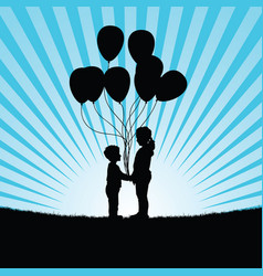 Children with ballon in nature vector