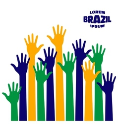colorful up hands icon using Brazil flag colors vector image