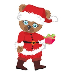 cute brown bear in red Santas costume isolated vector image