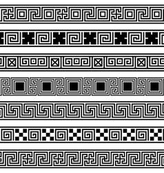 Different meander ansient patterns wide frame vector
