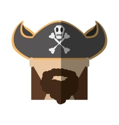 Face pirate bearded hat skull bone long hair vector