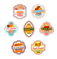fast food icons for fastfood cinema bistro vector image vector image