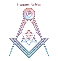 Freemason square and compass vector image