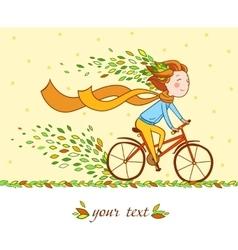 Girl on bike autumn background vector