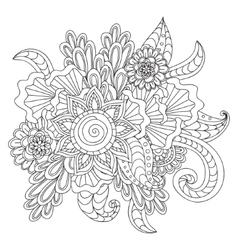 Hand drawn ethnic ornamental patterned floral vector