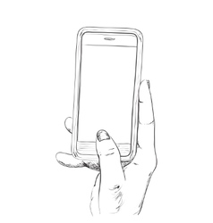 Hand drawn sketch of mobile phone vector