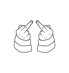 Hand showing middle finger up you or off vector