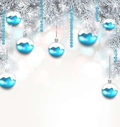 Holiday Fir Branches and Christmas Blue Ball vector image vector image