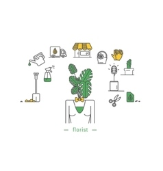 Icons of objects from the life of a florist vector