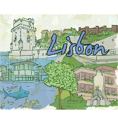 lisbon doodles vector image