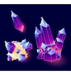 Magic crystals blue purple colors vector