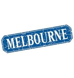 Melbourne blue square grunge retro style sign vector