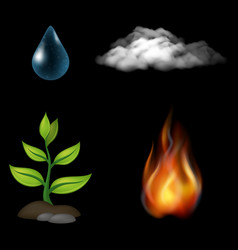 natural elements set vector image