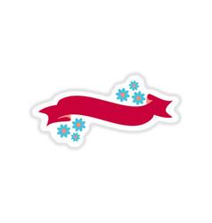 Paper sticker on white background flowers garland vector