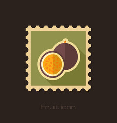 passionfruit flat stamp tropical fruit vector image