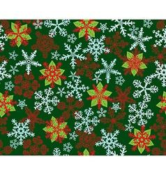 Poinsettias Snowflakes Green vector image vector image