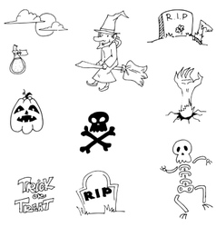 Pumpkins skul witch halloween doodle vector