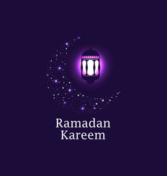 Ramadan kareem crescent and lantern stars vector
