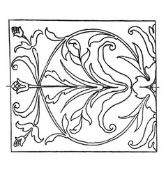 Renaissance oblong panel is an intarsia or wood vector
