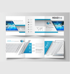 set of business templates for tri-fold brochures vector image vector image