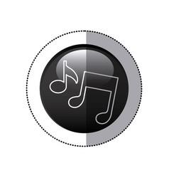 Sticker black circular frame with musical notes vector