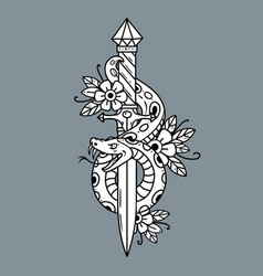 Tattoo dagger with snake old school vector