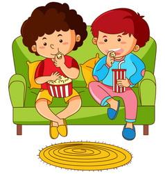Two boys eating popcorn on sofa vector