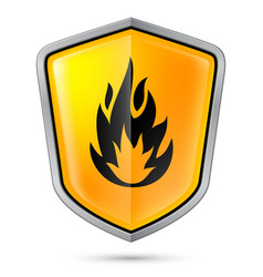 warning sign on shield indicating of flammable vector image vector image