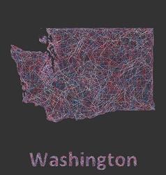 Washington line art map vector