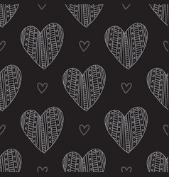 white boho ornamental hearts on black background vector image