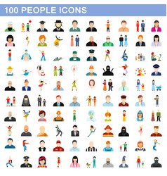 100 people icons set flat style vector