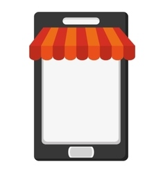 Modern cellphone with shop shade icon vector