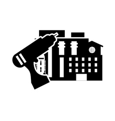 Drill and factory icon vector