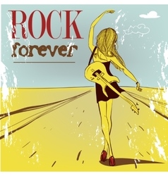cute rock girl with guitar vector image