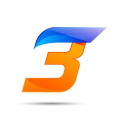 Number three 3 logo orange and blue color with vector